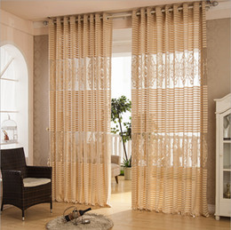 Wholesale Double Organza Fabric - Wholesale-Organza fabric curtain decoration European style stripe hollow out jacquard window screening blinds bedroom living room balcony