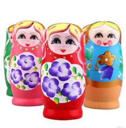 Russian Toy Dolls UK - Russian Nesting Dolls Toy Wood Wooden Nest Toys Doll For Xmas Gift Free Shipping 5sets  Lot