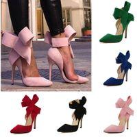 zapatos de la boda del estilete al por mayor-Al por mayor-Plus Size Shoe Mujeres Big Bow Tie Bombas 2015 Mariposa Acentuado Stiletto Mujeres Zapato Tacones Altos Suede Zapatos de Boda Zapatos De Mujer