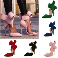 Wholesale green pink tie - Wholesale-Plus Size Shoe Women Big Bow Tie Pumps 2015 Butterfly Pointed Stiletto Women Shoe High Heels Suede Wedding Shoe Zapatos De Mujer