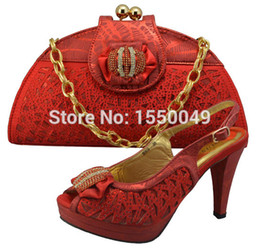 Wholesale Shoes Bags Italy - Wholesale-African Fashion Shoes and Matching Bags set, with plenty stones and Italy Shoe and Bag, wine red size 42 free shipping GF8009