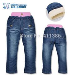 Wholesale Kk Rabbit Baby - SKZ-312 Free Shipping High Quality KK-RABBIT Kids Thick Pants Girls Winter Warm Jeans Baby Fashion Comfortable Trousers Retail