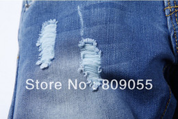 Wholesale Cool Jeans For Kids - Free shipping 6pcs lot fashion cool cotton boys Girls' jeans brand children's long pants for 2-10 years kids # 8807