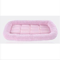 2015 New MO Delicate Recycled peluche douce en molleton Puppy Dog Pet Bed Mat chaud Crate Kennel Rose OM