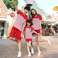 Wholesale Clothes For Father Son - Wholesale-Family t shirts summer 2015 short-sleeve red striped sport T-shirt matching family clothing set for mother daughter father son