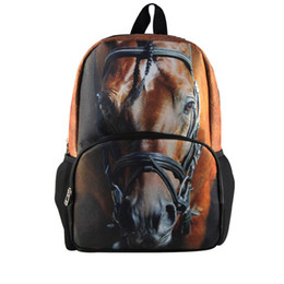Wholesale Cute 13 Boys - Wholesale-13' Fashion Horse School Backpack for boys,Cool Animal Men's Backpacks for Teenager,Best Selling Cute 3D Kids School