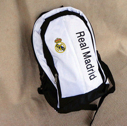 Wholesale White Fans - Wholesale-Real Madrid bags football soccer back pack outdoor sports bag soccer fans souvenir bag backpack sport bags for men