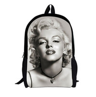 Wholesale marilyn blue - Wholesale-New Marilyn Monroe Backpack 3D Character Unique Backpacks Girls,Cute Girls Backpack High College Student Bagpack Women Rucksack