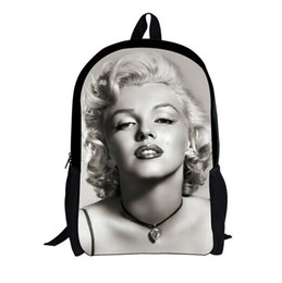 Wholesale Marilyn Print - Wholesale-New Marilyn Monroe Backpack 3D Character Unique Backpacks Girls,Cute Girls Backpack High College Student Bagpack Women Rucksack