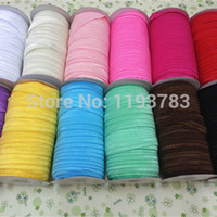 Wholesale Elastic Hair Rolls - Wholesale-Solid Color Fold Over Elastic Ribbon- Pure Color 100 yards Roll free shipping hairbow accessory headbands materials