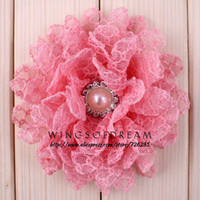 """Wholesale Tulle Crochet Headbands - Wholesale-Crochet Tulle Satin Daisy Flower With Bling Pearl Button For Accessories Fabric Flowers For Headband (50pcs lot) 4"""" 14 Colors"""