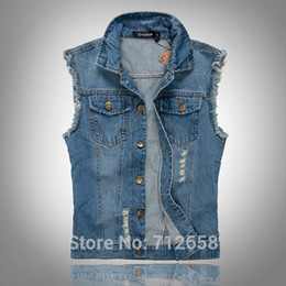 Wholesale 5xl Light Jacket - Wholesale-Classic Vintage Mens Jeans Vest Tops Sleeveless Jeans Jacket Denim Tops Light Blue Size M-5XL Free Shipping