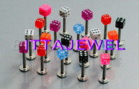 Wholesale Piercing Labret Dice - Wholesale-Wholesale 100pcs 16g UV Dice Labret Lip Monroe Rings Chin Tragus Bars,Body Jewelry,Piercing Jewellery