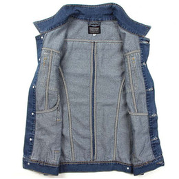 Wholesale Jacket Tags Size - Wholesale-Fashion Autum Winter Mens Jean Sleeveless Jackets ,Male Casual Blue Denim waistcoat,outdoor jaqueta colete Asia Tag Size M-XXL