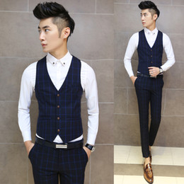 wholesale free shipping new 2015 fashion plaid print mens clothing casual wedding dress vest men slim fit vest for men mj3