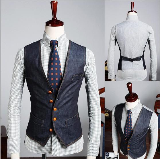 Wholesale-Free Shipping Men's Jean Vests Coat Formal Business Suit Jacket Patchwork Men Dress Denim Waistcoat Outerwear