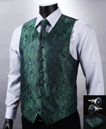 waistcoats v neck for suit Coupons - Wholesale-VE10 Green Navy Blue Paisley Top Design Wedding Men 100%Silk Waistcoat Vest Pocket Square Cufflinks Cravat Set for Suit Tuxedo