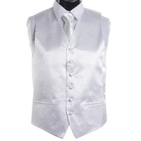 Wholesale Men S Ties Sets - Wholesale-Men's White Tie Dress Vest and NeckTie Set for Suit or Tuxedo