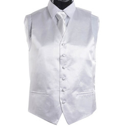 Wholesale Men S Ties Sets - Wholesale-Men's White Tie Dress Vest and NeckTie Set for Suit or Tuxedo