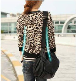Wholesale Girls Leather Leopard Jacket - Fashion US Badge Girl Leopard PU Leather Long Sleeve Coat Spring Autumn And Jackets For Women New 2015 Coats