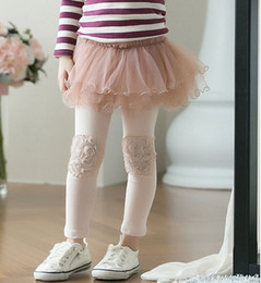 Wholesale Skirts Leggings Flowers - Free shipping 5pcs Lot New Fashion Rose Flower Patch Little Girl Cotton Leggings With TUTU Skirt Children SKirt Leggings