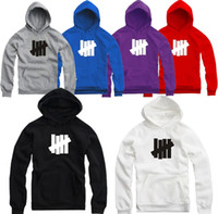 Wholesale Fleece Black Jacket - Wholesale-Undefeated Hoodies New Hip Hop Brand Undefeated Men Women Cotton Sports Sweatshirts Four Bars 8 Colors Undefeated Jacket
