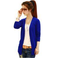 Wholesale Collarless Womens Coats - New Fashion Womens Crochet Knit Long Sleeve Collarless Coat Knitwear Sweater Cardigan Cape