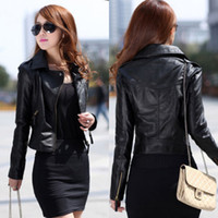 Wholesale Leather Jacket Sleeve Detail - Details about 2015 NEW Womens Slim Biker Motorcycle PU Soft Leather Zipper Jacket Coat Black