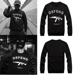 Wholesale Rifle Sleeve - Wholesale-New men women GIV DEFEND PARIS AK47 Automatic rifles print pullover Long-Sleeve Hip hop 3D Sweatshirts Hoodies pullover Tops