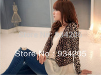 Wholesale Leopard Shrug - Women Sexy Attractive Leopard Print Double Breast Shrug Jacket Top Brown Coats