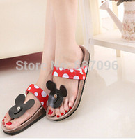 Wholesale Summer Fashions Wedges - New 2015 Summer Flats Fashion Flip Flops Shoes Cartoon type fashion Mickey Mouse cork slippers sandals for women