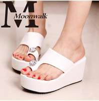 Wholesale Gladiator Style Sandals - MOON WALK 2015 summer style gladiator Fashion Wedge Women sandals Ladies shoes high heels Slippers wedge flip flops J3123