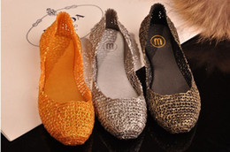 Wholesale Melissa Sky - melissa bling crystal jelly shoes mesh melissa cut-outs bird's nest flat-bottomed women sandals