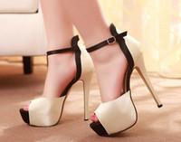 Wholesale Size 35 Bridal Platform - New 2015 Summer Shoes Sexy High Heels Women Sandals Platform Satin Bridal Wedding Shoes Woman Female Footwear Size 35-42