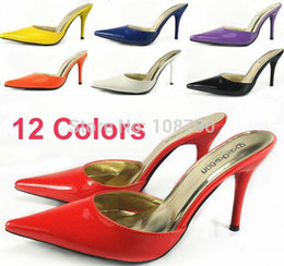 Wholesale White High Heel Sandals 12 - 12 Colors Vintage Patent Leather Pointed Toe High Heels Women Sandals Mules Slides Sandals For Women Stiletto Summer Shoes Woman