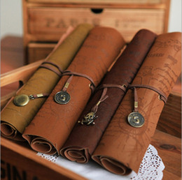 Wholesale Vintage Skull Pendants - Free shipping Fashion Delicate Vintage Pirate Treasure Map Compass Skull Star Pendant Leather Roll Pencil Case Cosmetic Pen Bag