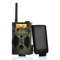 Wholesale Hunting Camera Solar Panel - Wholesale-Suntek HC-300M 12MP 4000x3000 infrared DVR mms gprs trail camera hunting game camera with solar panel Free Shipping