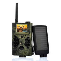Wholesale Hunting Camera Solar Panel - Wholesale-Suntek HC-300M 12MP 4000x3000 infrared DVR mms gprs trail camera hunting game camera with solar panel Free Shipping