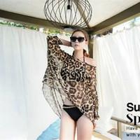 Wholesale Bikini Sarongs Leopard - Wholesale retail Women leopard cover ups Sexy swim bathing suit sarong Summer bikini beach wear Wrap pareo dress tunic 150