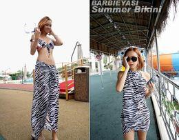 Wholesale Sexy Ladies Stripping - Fashion Sexy Zebra Strip sarong Bikini Beachwear Cover Up Brand Women Scarf Ladies Beach Wrap Pareo Dress Skirts Towel Mantillas