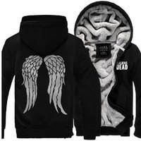 Wholesale Zombie Fleece - Wholesale-The Walking Dead Hoodie Zombie Daryl Dixon Wings Warm Winter Fleece Zip Up Mens Clothing Coat Sweatshirts Clothes