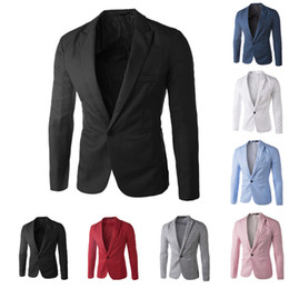 Wholesale Green Men S Fitted Suit - New Arrival Single Button Leisure Blazers Men Male 2015 Fashion Slim Fit Casual Suit Red Navy Blue Blazer Dress Clothing M-5XL