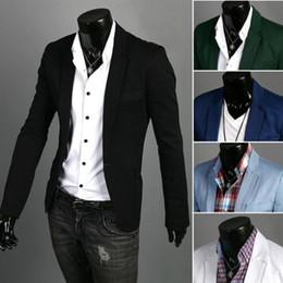 Wholesale Green Blazer Jacket Men - Spring New Solid Color White Black Slim Fit One Button Casual Mens Blazer Male Jacket Suit Men