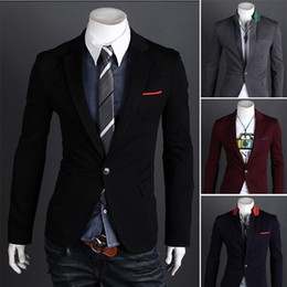 Wholesale Mens Stunning Silm - 2015 New British Fashion Suit Silm Coats Mens Casual Stunning Slim Fit Jacket Blazer Short Coat One Button Suit Free Shipping