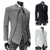 Wholesale Cool Slim Men Blazer - Hot Selling Classic Men's Suits Asymmetrical Fashion Men Slim Blazer Cool Men's Clothing Black,White,Gray M-XXL