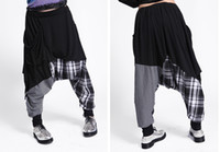 Wholesale Hip Boots Women - Wholesale-New Fashion Brand Casual Women Baggy Harem Pants Hippie Rope Plaid Patchwork Female Hip Hop Dance Sweatpants