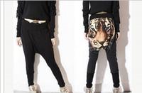 Wholesale Tiger Drop Crotch Pants - Wholesale-Tiger Printed Casual Women Hip hop Drop Crotch Haroun Harem Pants Elastic Waist