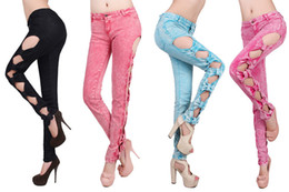 Wholesale Side Bow Cutout Ripped - Wholesale-2015 Hot Sale Fashion Vintage Detailed Woman Pants Side Bow Cutout Ripped Denim Classical Sexy Jeans, Free Shipping, 4 Colors
