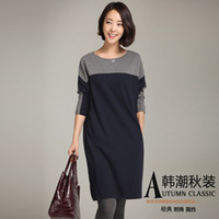 Wholesale Thicker Dress - Wholesale-2015 new women's winter thicker round neck hit color stitching Commuter simple straight-sleeved dress Casual Loose