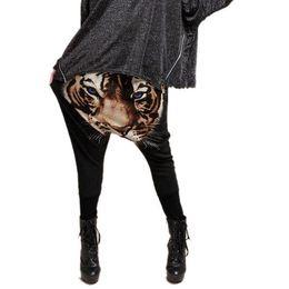 Wholesale Tiger Drop Crotch Pants - Wholesale-Vintage Women Tiger Printed Hip hop Casual Harem Pants Drop Crotch Elastic Waist Free Shipping&Drop Shipping